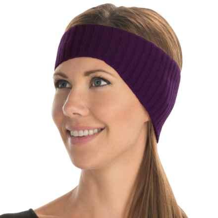 Portolano Ribbed Cashmere Headband (For Women) in Eggplant - Closeouts