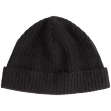 Portolano Ribbed Cashmere Stocking Cap (For Men and Women) in Black - Closeouts