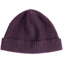Portolano Ribbed Cashmere Stocking Cap (For Men and Women) in Eggplant - Closeouts