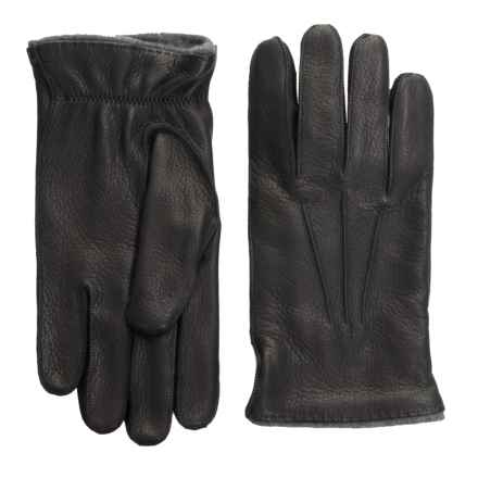 Portolano Rock-Sewn Deerskin Gloves - Cashmere Lined (For Men) in Black/Dark Heather Grey - Closeouts