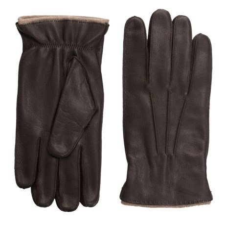 Portolano Rock-Sewn Deerskin Gloves - Cashmere Lined (For Men) in Chocolate Brown/Nile Brown