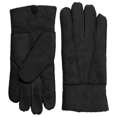 Portolano Shearling Gloves (For Women) in Black/Black