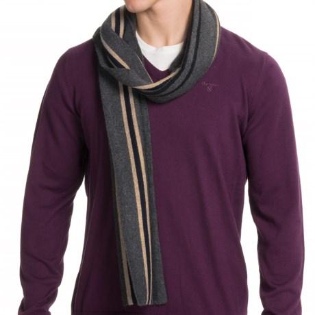 Portolano Stripe Cashmere-Blend Scarf (For Men) in Grigio Scuro/ Black/Navy/Light Brown