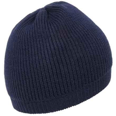 Portolano Textured Reversible Beanie - Merino Wool (For Men) in Navy - Closeouts