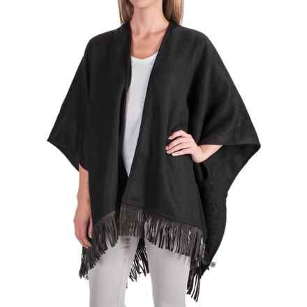 Portolano Wool Fringed Ruana Poncho (For Women) in Black/Black - Closeouts