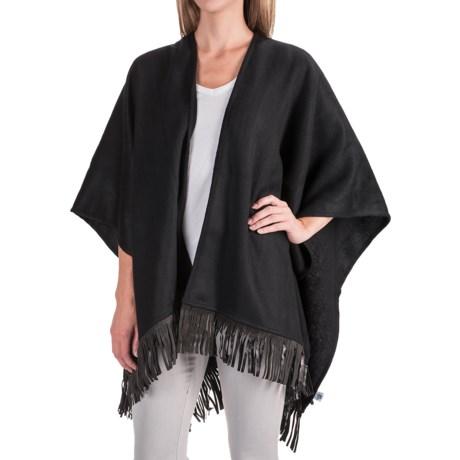 Portolano Wool Fringed Ruana Poncho (For Women) in Black/Black