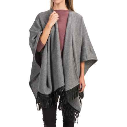 Portolano Wool Fringed Ruana Poncho (For Women) in Grey/Black - Closeouts