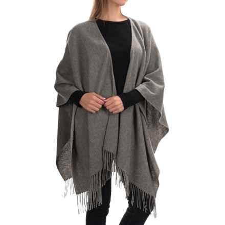 "Portolano Wool Ruana Poncho - 50x57"" (For Women) in Medium Heather Grey - Closeouts"