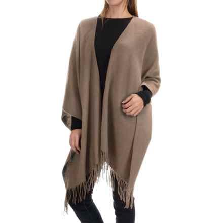 "Portolano Wool Ruana Poncho - 50x57"" (For Women) in Nile Mushroom - Closeouts"