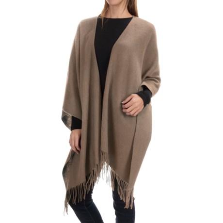 "Portolano Wool Ruana Poncho - 50x57"" (For Women) in Nile Mushroom"