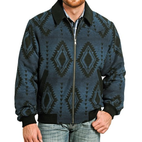 Powder River Outfitters Arizona Bomber Coat - Wool Blend (For Men) in Aztec Print