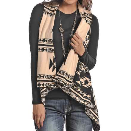 Powder River Outfitters Aztec Reversible Sweater Vest (For Women) in Black - Closeouts