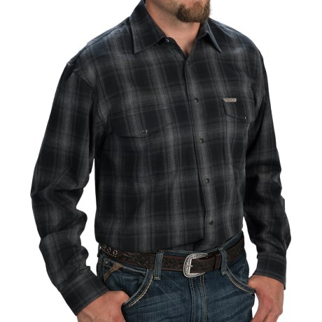 Powder River Outfitters Bandera Plaid Shirt - Long Sleeve (For Big and Tall Men) in Black/Grey