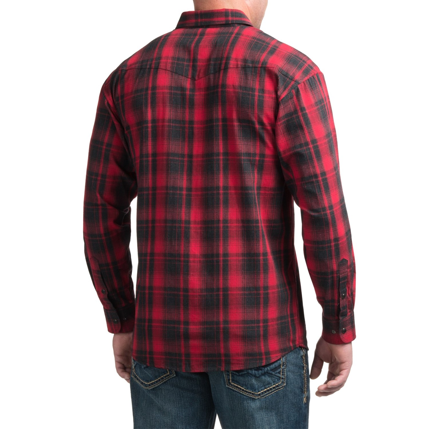Powder river outfitters bandera plaid shirt for men for Plaid shirt long sleeve