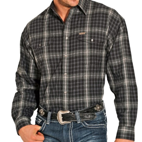 Powder River Outfitters Brushed Bandera Plaid Shirt - Long Sleeve (For Men) in Black/Grey