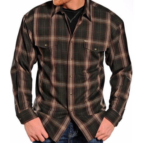 Powder River Outfitters Brushed Bandera Plaid Shirt - Long Sleeve (For Men) in Olive