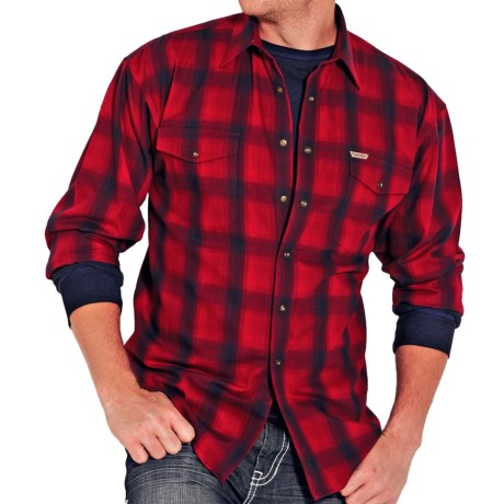 Powder River Outfitters Brushed Bandera Plaid Shirt - Long Sleeve (For Men) in Red/Navy
