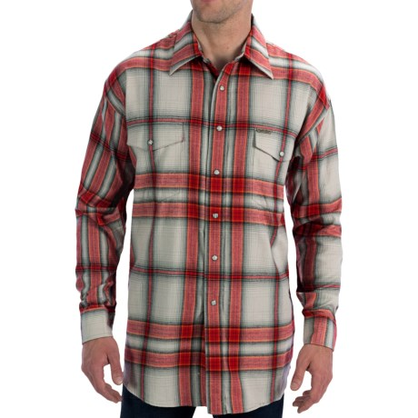Powder River Outfitters Brushed Bandera Plaid Shirt - Long Sleeve (For Men) in Red/Silver