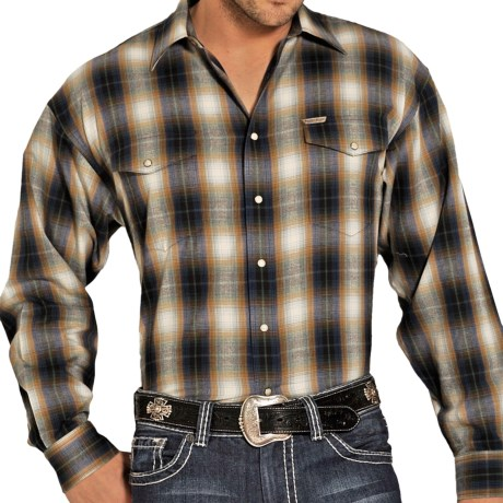Powder River Outfitters Brushed Bandera Plaid Shirt - Long Sleeve (For Men) in Tan/Blue