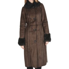 Powder River Outfitters Catres Long Coat - Distressed Suede, Faux-Fur Trim (For Women) in Brown - Closeouts