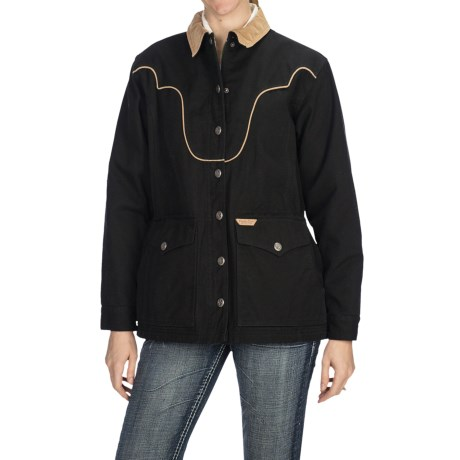 Powder River Outfitters Chadron Coat - Heavy Garment-Washed Canvas, Insulated (For Women) in Black/Tan