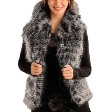 Powder River Outfitters Chateauroux Vest - Lynx Tipped Faux Fur (For Women) in Black/White - Closeouts