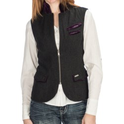 Powder River Outfitters Clari Vest - Wool Heather, Double-Princess Seams, Zip Front (For Women) in Steel