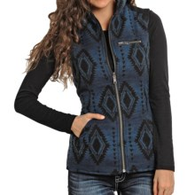 Powder River Outfitters Cora Aztec Reversible Vest - Wool (For Women) in Black/Blue Diamonds - Closeouts