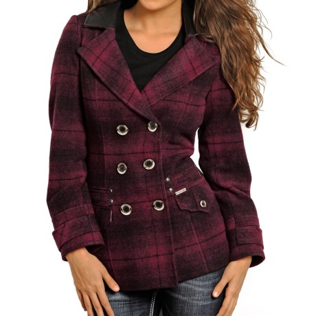 Powder River Outfitters Double-Breasted Coat - Wool (For Women) in Red/Maroon