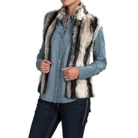 Powder River Outfitters Faux-Fur Vest - Knit Back (For Women) in Black/Grey - Closeouts