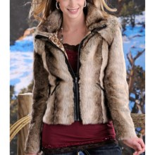 Powder River Outfitters Gemma Short Coat - Faux Fur (For Women) in Dark Brown/Tan - Closeouts
