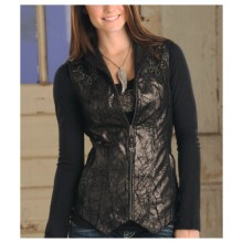Powder River Outfitters Grenada Vest - Metallic Print Leather (For Women) in Black - Closeouts