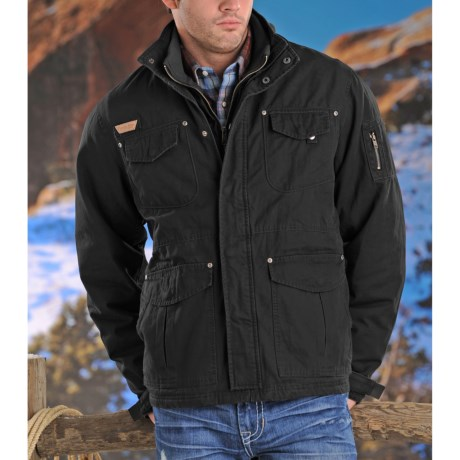 Powder River Outfitters Jackson Brushed Twill Coat - Insulated (For Men) in Black