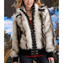Powder River Outfitters Lexi Coat - Faux Fur (For Women) in Black/White - Closeouts