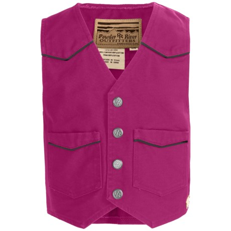 Powder River Outfitters Lil Colt Vest - Garment-Washed Canvas (For Kids) in 53 Fuchsia