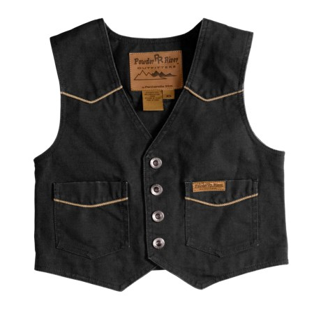 Powder River Outfitters Lil Colt Vest - Garment-Washed Canvas (For Kids) in Black