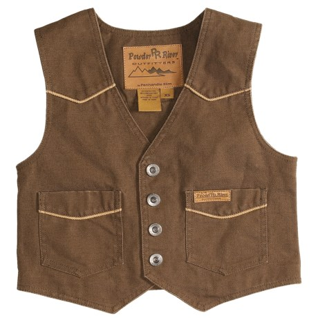 Powder River Outfitters Lil Colt Vest - Garment-Washed Canvas (For Kids) in Brown W/Tan Trim
