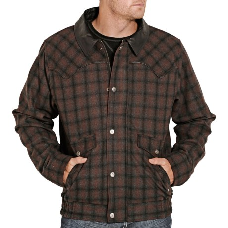 Powder River Outfitters Logan Bomber Coat - Wool Blend (For Men) in Black/Brown