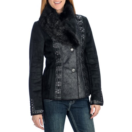 Powder River Outfitters Lyndee Coat - Distressed Faux Suede, Faux Fur (For Women) in Black