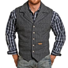 Powder River Outfitters Montana Stripe Vest - Wool Blend (For Men) in Grey Wool - Closeouts
