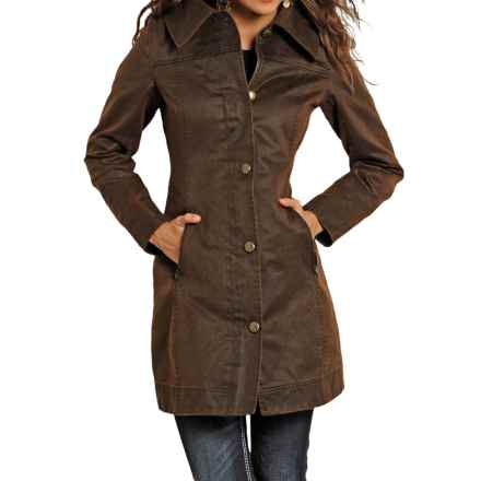 Powder River Outfitters Oilskin Coat (For Women) in Brown - Closeouts