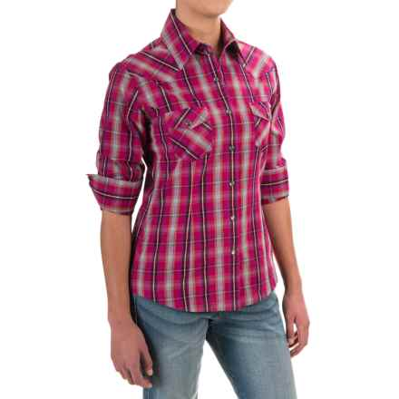 Powder River Outfitters Plaid Shirt - Snap Front, Long Sleeve (For Women) in Hot Pink/Grey - Closeouts
