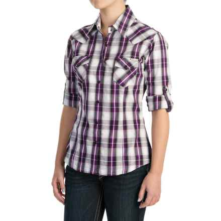 Powder River Outfitters Plaid Shirt - Snap Front, Long Sleeve (For Women) in Purple/Grey/White - Closeouts