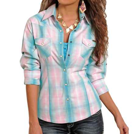 Powder River Outfitters Plaid Shirt - Snap Front, Long Sleeve (For Women) in Teal/Pink/White - Closeouts