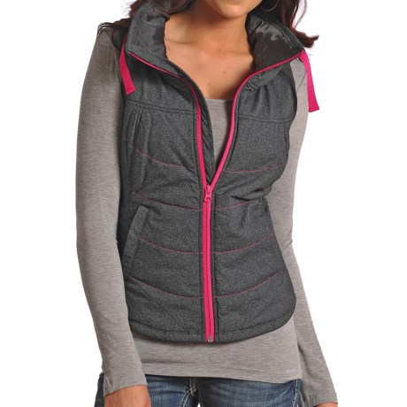 Powder River Outfitters Solid High-Performance Vest - Insulated, Full Zip (For Women) in Charcoal