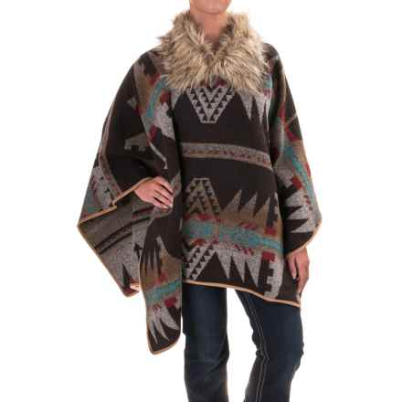 Powder River Outfitters Southwest Poncho - Faux-Fur Collar (For Women) in Dark Brown - Closeouts