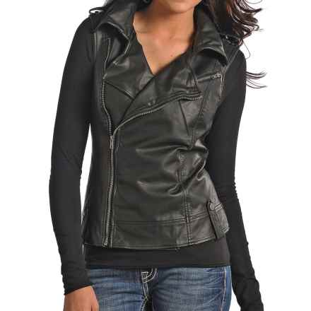 Powder River Outfitters Vegan Leather Moto Vest - Asymmetrical Zipper (For Women) in Black - Overstock