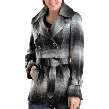 Powder River Outfitters Virginia Plaid Coat - Australian Wool Blend (For Women) in Black/Natural