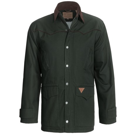 Powder River Rancher Canvas Coat with Berber Lining  (For Men) in Dark Taupe