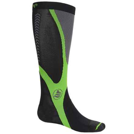 Powerstep Recovery Compression Socks - Over the Calf (For Men) in Black/Green - Closeouts